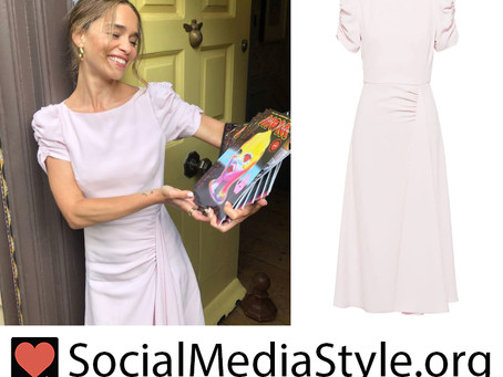Emilia Clarke's ruched pale pink dress from LIVE with Kelly and Ryan