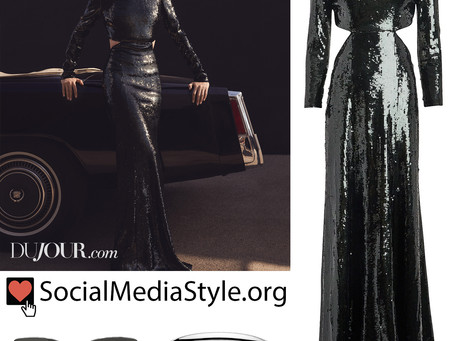Evan Rachel Wood's sunglasses, choker, and cutout black sequin gown from DuJour