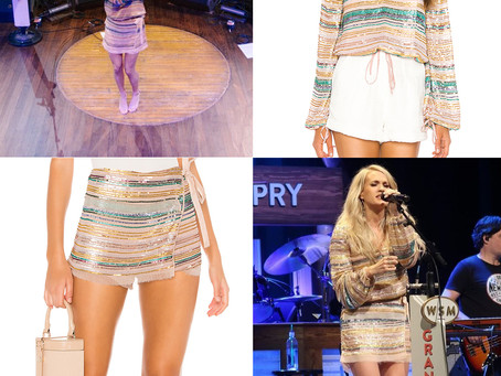 Carrie Underwood's sequin striped top and skort from her Fan Club Party
