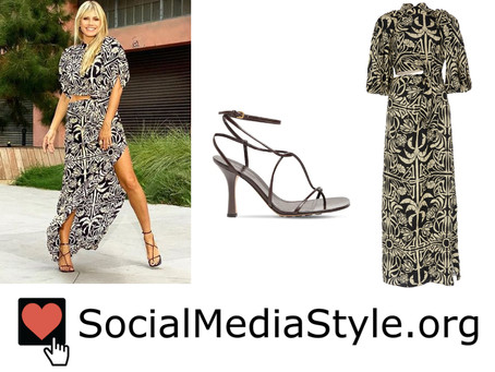 Heidi Klum's black and white tropical print dress and strappy sandals
