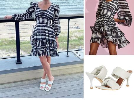 Lea Michele's black and white print dress and white slide sandals