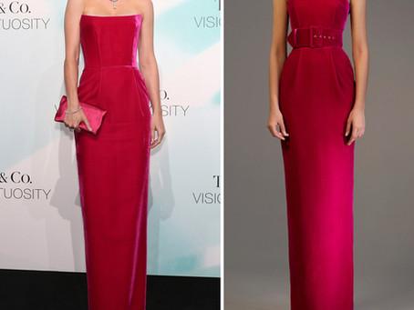 Brie Larson's hot pink velvet gown
