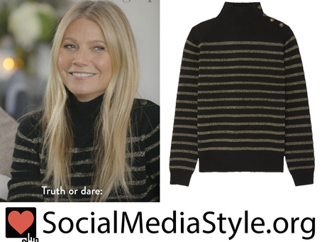 Gwyneth Paltrow's black and gold striped turtleneck sweater