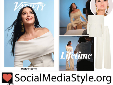 Katy Perry's white off-the-shoulder suit and statement earrings from Variety Magazine