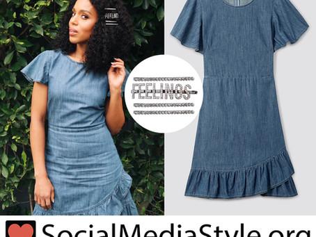 Kerry Washington's hairpins and ruffled chambray dress
