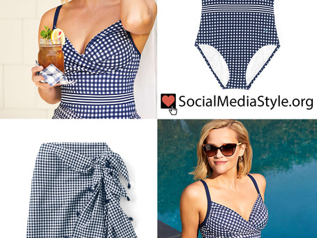 Reese Witherspoon's Draper James x Lands' End gingham swimsuit and cover-up