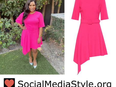 Mindy Kaling's asymmetrical pink dress