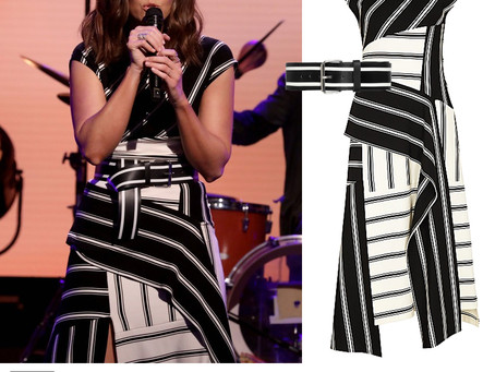 Mandy Moore's black and white striped dress and belt from The Ellen DeGeneres Show