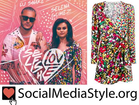Selena Gomez's mixed print wrap dress from the Selfish Love video