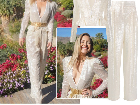 Kate Hudson's ivory sequin blazer and pants and gold chain belt