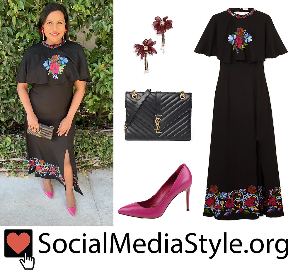 Mindy Kaling S Black Floral Embroidered Dress And Accessories