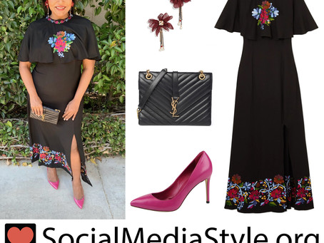 Mindy Kaling's black floral embroidered dress and accessories