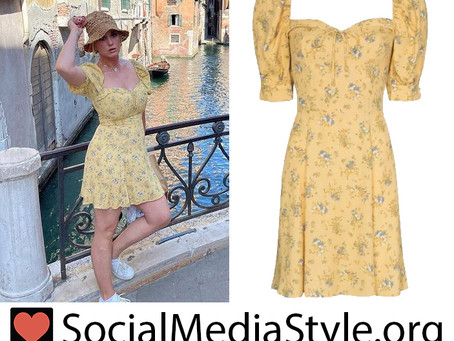 Katy Perry's yellow floral print dress