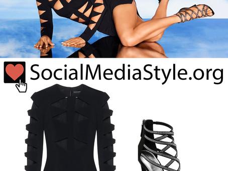 Jennifer Lopez's cutout black dress and strappy sandals