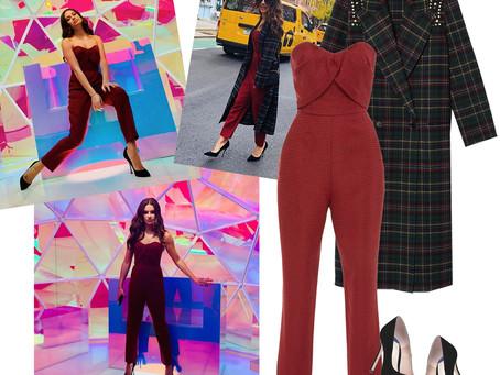 Lea Michele's rhinestone embellished plaid coat, strapless jumpsuit, and black pumps