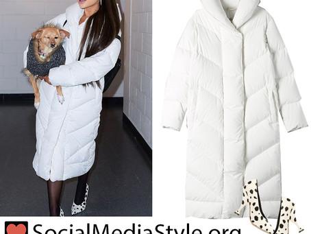 Ariana Grande's white puffer coat and dalmatian-print pumps