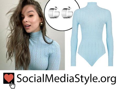 Hailee Steinfeld's flat hoop earrings and blue lace bodysuit