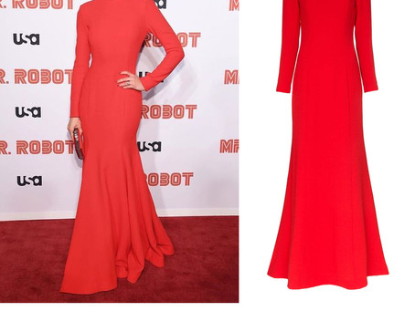 """Emmy Rossum's red gown from the """"Mr. Robot"""" Season 4 Premiere"""