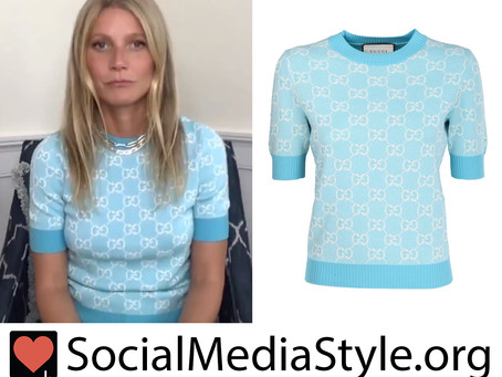 Gwyneth Paltrow's Gucci light blue short sleeve sweater from The Drew Barrymore Show