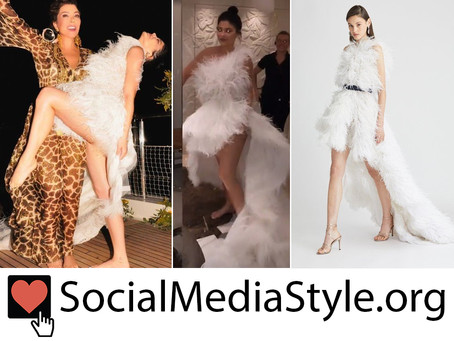 Kylie Jenner's white feather high Low dress