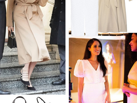 Meghan Markle's camel coat, white outfit, and black accessories