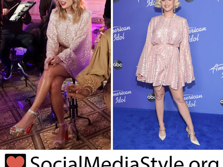 Taylor Swift and Katy Perry's pink metallic animal print dress