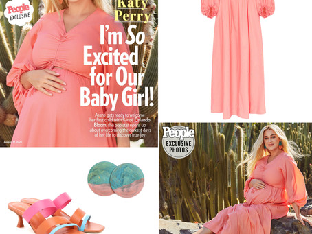 Katy Perry's coral pink dress, circle earrings, and color block sandals from People Magazine