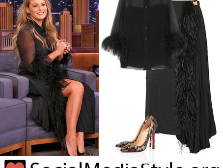 Blake Lively's black feather trim blouse & skirt and sequin leopard pumps from the The Tonight Show