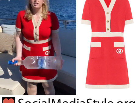 Rebel Wilson's Gucci red wool dress