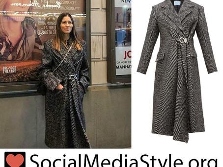 Jessica Biel's gathered wool coat