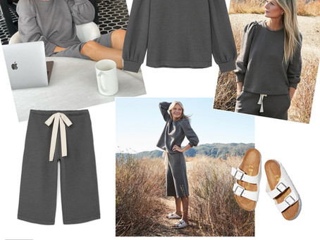 Gwyneth Paltrow's grey puff sleeve sweatshirt and cropped sweatpants and white Birkenstocks