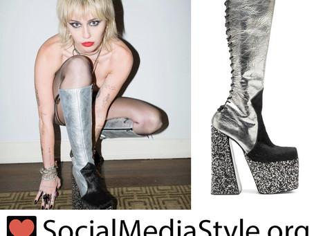 Miley Cyrus' silver crystal platform boots