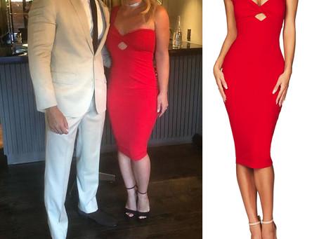 Britney Spears' red one shoulder dress