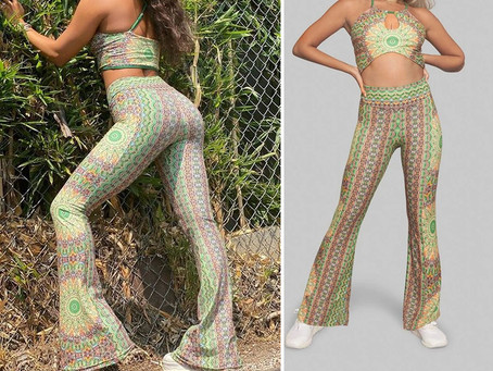 Vanessa Hudgens' psychedelic print matching top and bell bottoms