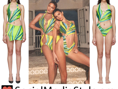 Kylie and Kendal Jenner's cutout green print swimsuits