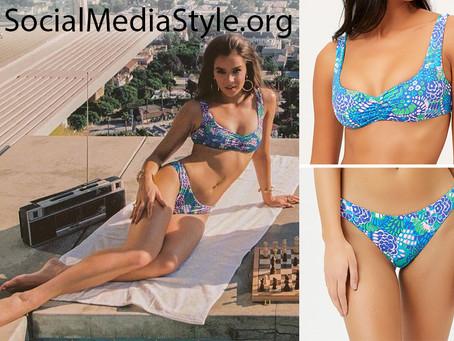 Hailee Steinfeld x Frankies Bikinis blue floral print bikini