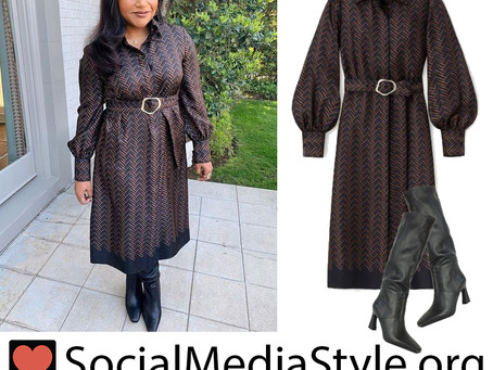 Mindy Kaling's brown chevron dress and black knee high boots