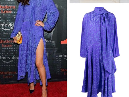 Emmy Rossum's violet scarf dress and yellow clutch
