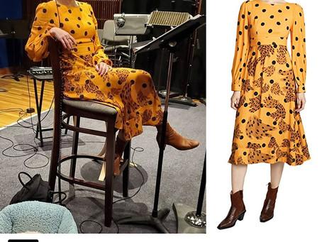 Kristen Bell's yellow polka dot and abstract banana print dress