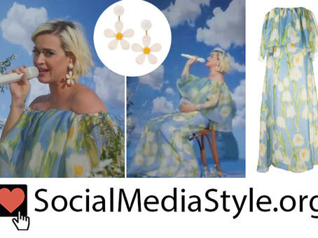 Katy Perry's daisy earrings and floral print off-the-shoulder dress from Good Morning America
