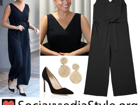 Meghan Markle's gold earrings and black jumpsuit and pumps