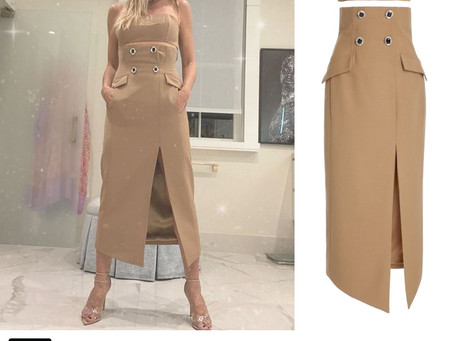 Heidi Klum's beige bustier top and high-waisted skirt