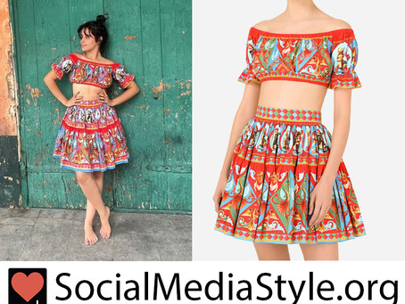 Camila Cabello's red print crop top and skirt