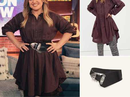 Kelly Clarkson's maroon shirtdress and black belt from The Kelly Clarkson Show