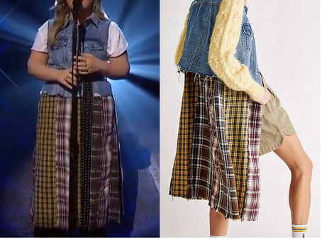 Kelly Clarkson's denim and mixed plaid vest from The Kelly Clarkson Show