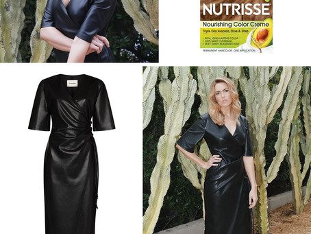 Mandy Moore's Garnier Nutrisse hair color and faux leather wrap dress