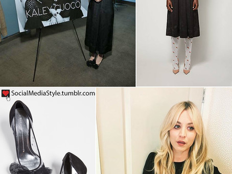 Kaley's black dress and lace bow pumps from the Haute Living Celebrates Kaley Cuoco Cover Launch