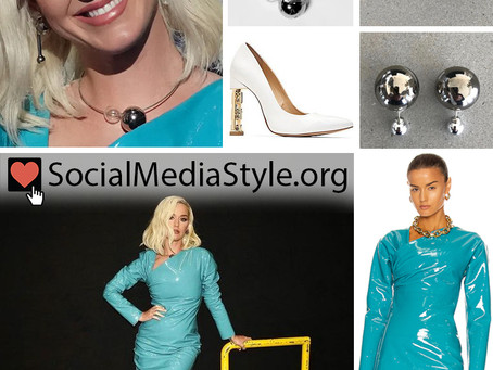 Katy Perry's blue patent leather dress and fun accessories from American Idol