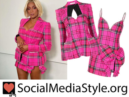 Tiffany Haddish's pink plaid blazer and dress from Friday Night Vibes