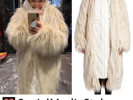 Kate Hudson's faux fur coat with hooded underlay